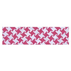 HOUNDSTOOTH2 WHITE MARBLE & PINK DENIM Satin Scarf (Oblong)