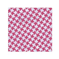 Houndstooth2 White Marble & Pink Denim Small Satin Scarf (square)