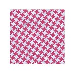 HOUNDSTOOTH2 WHITE MARBLE & PINK DENIM Small Satin Scarf (Square) Front