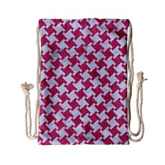 Houndstooth2 White Marble & Pink Denim Drawstring Bag (small)
