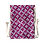 HOUNDSTOOTH2 WHITE MARBLE & PINK DENIM Drawstring Bag (Small) Back