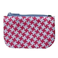 Houndstooth2 White Marble & Pink Denim Large Coin Purse