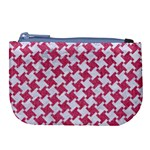 HOUNDSTOOTH2 WHITE MARBLE & PINK DENIM Large Coin Purse Front