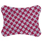 HOUNDSTOOTH2 WHITE MARBLE & PINK DENIM Jigsaw Puzzle Photo Stand (Bow) Front