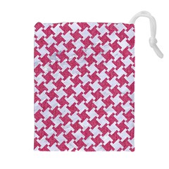 HOUNDSTOOTH2 WHITE MARBLE & PINK DENIM Drawstring Pouches (Extra Large)