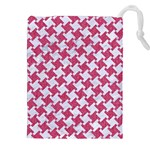 HOUNDSTOOTH2 WHITE MARBLE & PINK DENIM Drawstring Pouches (XXL) Front
