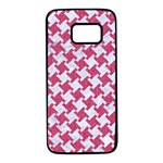 HOUNDSTOOTH2 WHITE MARBLE & PINK DENIM Samsung Galaxy S7 Black Seamless Case Front