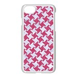 HOUNDSTOOTH2 WHITE MARBLE & PINK DENIM Apple iPhone 7 Seamless Case (White) Front