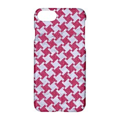 Houndstooth2 White Marble & Pink Denim Apple Iphone 8 Hardshell Case by trendistuff