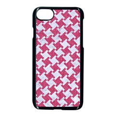 Houndstooth2 White Marble & Pink Denim Apple Iphone 8 Seamless Case (black) by trendistuff