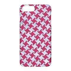 Houndstooth2 White Marble & Pink Denim Apple Iphone 8 Plus Hardshell Case by trendistuff