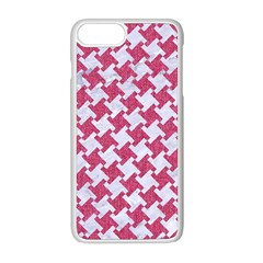 Houndstooth2 White Marble & Pink Denim Apple Iphone 8 Plus Seamless Case (white) by trendistuff
