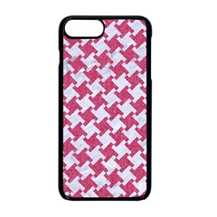 Houndstooth2 White Marble & Pink Denim Apple Iphone 8 Plus Seamless Case (black) by trendistuff