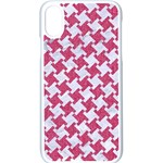 HOUNDSTOOTH2 WHITE MARBLE & PINK DENIM Apple iPhone X Seamless Case (White) Front