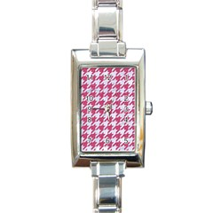 Houndstooth1 White Marble & Pink Denim Rectangle Italian Charm Watch