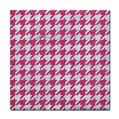 Houndstooth1 White Marble & Pink Denim Tile Coasters by trendistuff