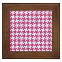 Houndstooth1 White Marble & Pink Denim Framed Tiles