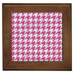 HOUNDSTOOTH1 WHITE MARBLE & PINK DENIM Framed Tiles Front