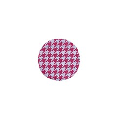 Houndstooth1 White Marble & Pink Denim 1  Mini Magnets by trendistuff