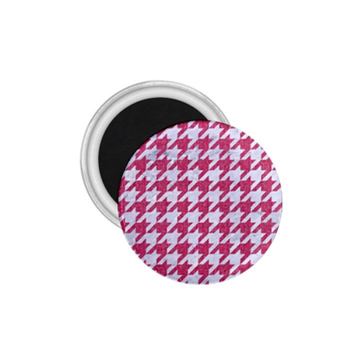 HOUNDSTOOTH1 WHITE MARBLE & PINK DENIM 1.75  Magnets