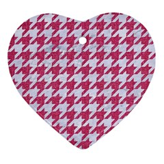 Houndstooth1 White Marble & Pink Denim Ornament (heart)