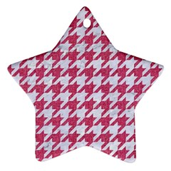 Houndstooth1 White Marble & Pink Denim Ornament (star)