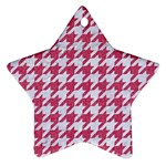 HOUNDSTOOTH1 WHITE MARBLE & PINK DENIM Ornament (Star) Front