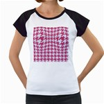 HOUNDSTOOTH1 WHITE MARBLE & PINK DENIM Women s Cap Sleeve T Front