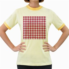 Houndstooth1 White Marble & Pink Denim Women s Fitted Ringer T Shirts by trendistuff