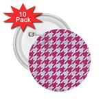 HOUNDSTOOTH1 WHITE MARBLE & PINK DENIM 2.25  Buttons (10 pack)  Front
