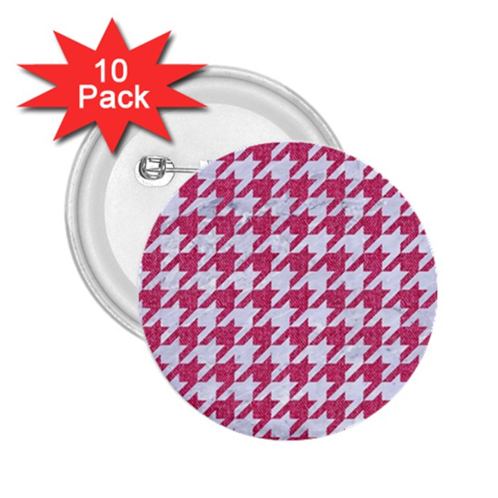 HOUNDSTOOTH1 WHITE MARBLE & PINK DENIM 2.25  Buttons (10 pack)