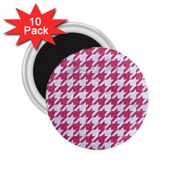 Houndstooth1 White Marble & Pink Denim 2 25  Magnets (10 Pack)