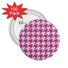 Houndstooth1 White Marble & Pink Denim 2 25  Buttons (100 Pack)