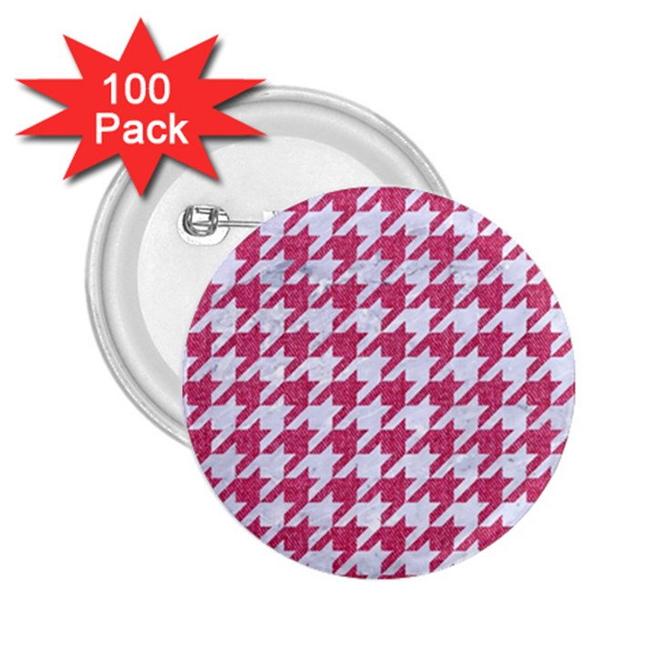 HOUNDSTOOTH1 WHITE MARBLE & PINK DENIM 2.25  Buttons (100 pack)
