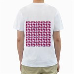 HOUNDSTOOTH1 WHITE MARBLE & PINK DENIM Men s T-Shirt (White) (Two Sided) Back