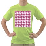 HOUNDSTOOTH1 WHITE MARBLE & PINK DENIM Green T-Shirt Front