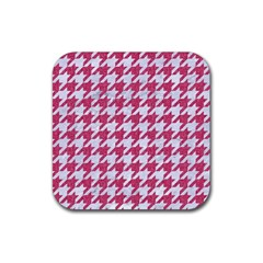 Houndstooth1 White Marble & Pink Denim Rubber Square Coaster (4 Pack)  by trendistuff