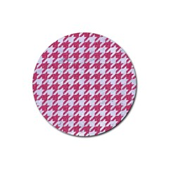 Houndstooth1 White Marble & Pink Denim Rubber Round Coaster (4 Pack)