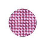 HOUNDSTOOTH1 WHITE MARBLE & PINK DENIM Rubber Round Coaster (4 pack)  Front