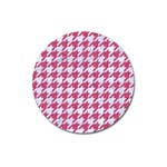 HOUNDSTOOTH1 WHITE MARBLE & PINK DENIM Magnet 3  (Round) Front