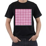 HOUNDSTOOTH1 WHITE MARBLE & PINK DENIM Men s T-Shirt (Black) (Two Sided) Front