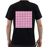 HOUNDSTOOTH1 WHITE MARBLE & PINK DENIM Men s T-Shirt (Black) (Two Sided) Back