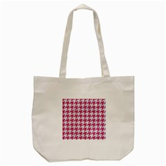 Houndstooth1 White Marble & Pink Denim Tote Bag (cream)