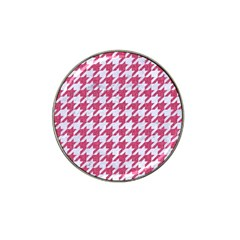 Houndstooth1 White Marble & Pink Denim Hat Clip Ball Marker (4 Pack) by trendistuff