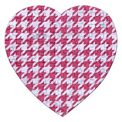 Houndstooth1 White Marble & Pink Denim Jigsaw Puzzle (heart) by trendistuff