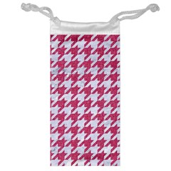 Houndstooth1 White Marble & Pink Denim Jewelry Bags