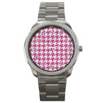 HOUNDSTOOTH1 WHITE MARBLE & PINK DENIM Sport Metal Watch Front