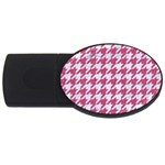 HOUNDSTOOTH1 WHITE MARBLE & PINK DENIM USB Flash Drive Oval (4 GB) Front