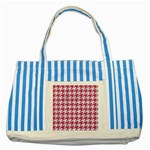 HOUNDSTOOTH1 WHITE MARBLE & PINK DENIM Striped Blue Tote Bag Front
