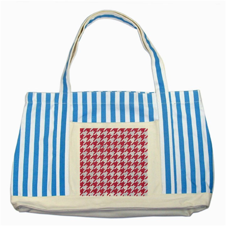 HOUNDSTOOTH1 WHITE MARBLE & PINK DENIM Striped Blue Tote Bag